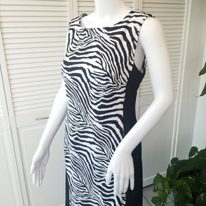 Connected zebra animal print color block dress